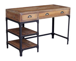 Kathy Kuo Home - Luca Reclaimed Wood Rustic Iron Industrial Loft Desk - Talk about old school! Stylish yet utilitarian, this wood and iron desk has the industrial chic charm to improve the disposition of your workstation. Now get busy!