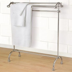 "Mercer Towel Stand, Polished Nickel finish - A refreshing change from wall-mounted towel bars, our substantial Mercer Towel Stand was inspired by similar versions in luxury hotels. 31.5"" wide x 13"" deep x 34"" high Crafted of drop-forged brass, then thickly plated for strength. Finished in polished nickel, then sealed with a clear protective lacquer. Catalog / Internet Only. Simple assembly."