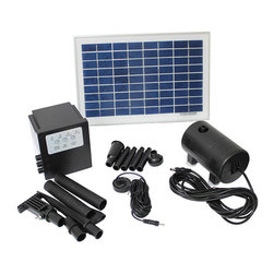 None - Solar Powered 8-watt 18-volt Water Pump with Battery and Timer - Keep your fountain running with this solar powered water pump Garden fountain pump comes with a battery to store power for night use Water feature comes with a timer for using at preset times