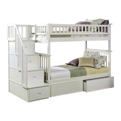 Atlantic Furniture - Columbia Staircase Bunk Bed Twin Over Twin / Flat Panel Drawers / White - The Columbia bunk bed has a built in modesty panel and can accommodate under bed storage drawers or a trundle. With its 26 steel reinforcement points and two 14 piece slat kits, this bed is as sturdy as they come. So many sleep options, and it creates tons of storage space in your child's room. Staircase drawers ship fully assembled with English dovetail construction and full extension ball bearing drawer glides. This bed will surely become their favorite sleepy time fort and you can feel good about the quality and value.