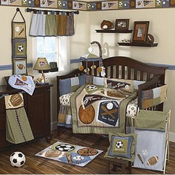 CoCaLo Sports Fan 8 Piece Crib Bedding Set - This great boy collection is inspired by a love of sports. The CoCaLo Sports Fan 8 Piece Crib Bedding Set features large appliques with fun sport icons: a pennant, baseball base, football and so much more! Handsome plaids and various textures in a classic boy color make this collection very special for your Lil Slugger! A combination of vibrant colors of green, chocolate brown, burgundy and shades of blue will look even more irresistible on a crib.About CoCaLoToday's parents look to CoCaLo for distinctive home decor items to welcome their new baby home. Founded in 1998 by Renee Pepys Lowe, and named for her inspiration - daughters, Courtenay and Catherine Lowe - CoCaLo designs complete nursery collections with a full assortment of coordinating accessories to provide parents the resources to create a beautiful, cozy, and safe nursery. Quality, consistency, and fashionable products are hallmarks of the CoCaLo commitment to excellence and a guarantee to its customers, whether you are a first-time parent, a grandparent, or a family member or friend purchasing a thoughtful baby shower gift.