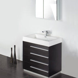 """Fresca - Livello 30 in. Wide Modern Bathroom Vanity w Medicine Cabinet (Bevera Chrome) - Choose Included Faucet: Bevera ChromeSingle Hole Faucet Mount (Faucet Shown In Picture May No Longer Be Available So Please Check Compatible Faucet List). Soft Closing Drawers. P-trap, Faucet, Pop-Up Drain and Installation Hardware Included. With overflow. Sink Color: White. Finish: Black. Sink Dimensions: 25.38 in. x12.38 in. x3.75 in. . Medicine Cabinet: 29.5 in. W x 26 in. H x 5 in. D. Materials: MDF with Acrylic Countertop/Sink with Overflow. Vanity: 29.38 in. W x 18.75 in. D x 33.5 in. HThe Livello 30"""" vanity features four pull out drawers that come equipped with slow closing hinges. Its sink is made with a durable acrylic material that is less likely to break then tradition ceramic, it also cleans better. This vanity's minimal design will make your bathroom feel like a modern oasis."""