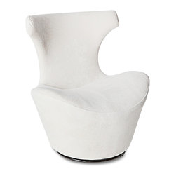 Zuri Furniture - Wedge Modern Swivel Occasional Chair - White - Graceful curves adorned in eggshell white crushed velvet await you in our exclusive Wedge swivel chair. This beautiful accent piece delivers outstanding comfort and an ultra contemporary look and feel for your upscale living space.