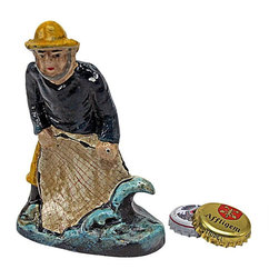 """EttansPalace - Todays Catch Fisherman Bottle Opener - Though every fisherman knows the power of the sea, few are able to harness the waves to open beverages like this Old Salt can! Hand-crafted using the time-honored sand cast method, this collectible, free-standing figurine is hand-painted in vintage hues to capture endearing details from his fishing net to his slicker. 3""""W x 1.5""""D x 4""""H. 1 lb."""