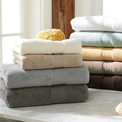 PB Classic 820-Gram Weight Hand Towel, Sunstream - Our signature PB Classic Bath Towels are the softest and plushest you'll find. They're made of Turkish cotton terry, prized for its absorbency and texture. We've loomed it to a luxurious 820-gram weight. 820-gram weight. Combed cotton ensures long, uniform fibers. Plush, soft towels have superior loft and absorbency. Features pleated dobby trim. Monogramming is available at an additional charge. Monogram will be centered at one end of the bath and hand towels. Towels match Pottery Barn's Classic Bath Rug. Oeko-Tex certified, the world's definitive certification for ecologically safe textiles. Watch a video about the methods used to create our {{link path='/stylehouse/videos/videos/pbq_v7_rel.html?cm_sp=Video_PIP-_-PBQUALITY-_-CLASSIC_COTTON_TOWELS' class='popup' width='950' height='300'}}PB Classic Bath Towels{{/link}}. Made in Turkey.