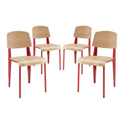 """LexMod - Cabin Dining Side Chair Set of 4 in Red - Cabin Dining Side Chair Set of 4 in Red - Simplicity reigns serenely with the Cabin modern dining chair. Fluid lines lend a soft and sweet aura to a piece that truly highlights your room. Whether in your vacation home or suburban dining room, decorate your taste with a solid chair of practical durability. Set Includes: Four - Cabin Plywood Dining Chair in Natural Powder-coated tubular steel frame, Seat and backrest made from plywood, Natural wood varnish coating Overall Product Dimensions: 19""""L x 16.5""""W x 32""""H Seat Height: 17.5""""H - Mid Century Modern Furniture."""