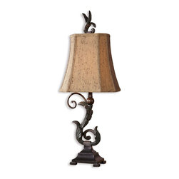 Uttermost - Uttermost Caperana Table Lamp in Matte Black - Shown in picture: Matte Black Finish With A Heavy Verdigris Wash Over The Leaf Details And Bronze Undertones. Sold As A Set Of 2. Matte black finish with a heavy verdigris wash over the leaf details and bronze undertones. The rectangle - clipped corners - bell shade is a silken chocolate bronze textile with black slubbing and multiple layers of trim. Sold as a set of 2.