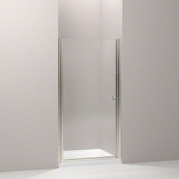 """KOHLER - KOHLER Fluence(R) pivot shower door, 65-1/2"""" H x 36-1/4 - 37-3/4"""" W, with 1/4"""" t - With a frameless, versatile design and Crystal Clear glass, the Fluence pivot shower door adds contemporary style to your shower. The door allows 1-1/2-inch adjustability for out-of-plumb installations and can be installed to open to the left or right to fit the layout of your room."""