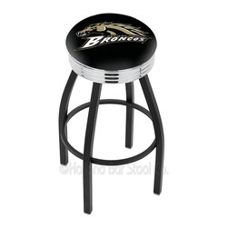 "Holland Bar Stool - Holland Bar Stool L8B3C - Black Wrinkle Western Michigan Swivel Bar Stool - L8B3C - Black Wrinkle Western Michigan Swivel Bar Stool w/ Chrome 2.5 Inch Ribbed Accent Ring belongs to College Collection by Holland Bar Stool Made for the ultimate sports fan, impress your buddies with this knockout from Holland Bar Stool. This contemporary L8B3C logo stool has a single-ring black wrinkle base with a 2.5"" cushion and a 3"" chrome ribbed accent ring that helps the seat to ""pop-out"" at glance. Holland Bar Stool uses a detailed screen print process that applies specially formulated epoxy-vinyl ink in numerous stages to produce a sharp, crisp, clear image of your desired logo. You can't find a higher quality logo stool on the market. The plating grade steel used to build the frame is commercial quality, so it will withstand the abuse of the rowdiest of friends for years to come. The structure is powder-coated black wrinkle with a triple chrome-plated ribbed accent ring to ensure a rich, sleek, long lasting finish. Construction of this framework is built tough, utilizing solid mig welds. If you're going to finish your bar or game room, do it right- with a Holland Bar Stool. Barstool (1)"