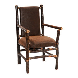 Fireside Lodge Furniture - Hickory Upholstered Log Arm Chair (Desert Blo - Fabric: Desert BlossomHickory Collection. All Hickory Logs are bark on and kiln dried to a specific moisture content. Clear coat catalyzed lacquer finish for extra durability. 2-Year limited warranty. 26 in. W x 24 in. D x 38 in. H (45 lbs.)