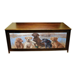 Kelseys Collection - Blanket chest - Dog Daze - Blanket chest or hope chest has great art giclee printed on three sides. Also functions as a bench. Solid pine high quality craftsmanship and famous artwork make unique home decor furniture. Lid is strengthened with 3 strakes.  Measures 48x19x20.  The lid is connected with 3 L shaped hinges which are connected with five screws.  Easy to assemble in 45 minutes, weighs 40 pounds. Two piston dampers soften the lid closing to protect fingers. Artist - Killen