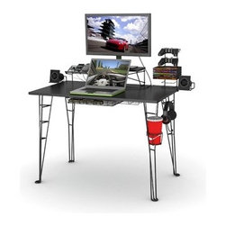 Atlantic - Gaming Computer Desk - Keep your gaming accessories organized and enhance your video gaming experience with an ultra-modern gaming desk that looks awesome. If you're a gamer (or have a teenager who's into gaming) Atlantic's Gaming Desk is the perfect organizational and storage solution to handle all your gaming and technology needs. With eight accessory attachments, you can use your laptop computer, display your flat screen TV, store games and game controllers and charge and store multiple mobile devices (cell phone, iPod, etc ). This multi-purpose desk also includes two audio speaker stands, a drink holder for your favorite soda and a hook for your music headphones. The all-black steel rod construction and special PVC-coated desktop ensure durability, while the minimalist modern design sports a totally hip look and feel. The ultimate in form and function, Atlantic's Gaming Desk has it all! Features: -Cable Management system.-Fits 27'' flat panel monitor up to 40 lbs.-Charging station.-Speaker trays.-Carbon fiber look.-Storage drawer.-Steel rod frame construction.-Warranty: Atlantic, Inc., warrants to the original purchaser that its products are free from defect in materials or workmanship for a period of one year after purchase. If after inspection, we find that the product was defective in materials or workmanship, we shall repair or replace the product at our discretion. This warranty does not cover accidental damage, misuse, improper care or alteration and excludes claims for incidental or consequential loss..-Distressed: No.Specifications: -8 Accessory attachments capable of accommodating a 27'' (40 lbs max) flat screen monitor, 9 dvd/blu-ray games, 2 game controllers, 3 mobile devices, 2 speakers, drink holder and headphone storage hook and surge protector tray.Dimensions: -Overall Product Weight: 37.4.