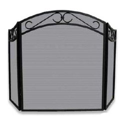 Blue Rhino - Trifold Wrought Iron Screen With Arch Black - Fireplace screens can be decorative or functional but rarely both. Here's the jewelry for your hearth. The three panels are topped with a scrolling arch, which will enhance your fireplace while keeping embers in and letting the warmth out.