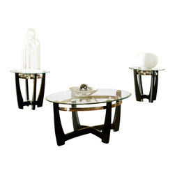 Steve Silver - Matinee 3 Pack - Beveled - 8mm - Let the beauty of this three piece occasional table set be the highlight of your room. Made of wood interlock U legs, metal ring base support and beveled glass tops. The Matinee cocktail table is oval and end tables are round.