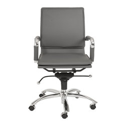 Euro Style - Euro Style Gunar Pro Low Back Office Chair X-YRG36210 - The five-leg pedestal on wheels is reliable and sturdy no matter how you roll.  The rest is pure style.  The feel of leather and the easy-to-use tilt mechanism are perfect when you want to lean into your work in comfort.
