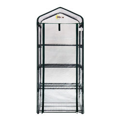 "oGrow - oGrow® Ultra-Deluxe 4 Tier Portable Bloomhouse - This Ogrow greenhouse is sure to get you up and growing in no time! This Compact and portable 62"" H x 27"" W x 19"" D 4 tier greenhouse features heavy duty sturdy steel frame. Strong durable clear cover manufactured from heavy duty material. Comes with Hook and Loop connection vs. ties for quick and easy assembly and a stronger, longer lasting life span. Strong and durable powder coated shelving will hold your heavy plantings off the ground, yet allow plenty of room for growth. Roll up cover for easy access, ventilation, and moisture control. Ideal for displaying greenery in full sun. Designed with special heavy duty high quality plastic connectors for easy assembly. Get growing today and let Ogrow help you bring your green dreams to life."