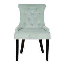 Safavieh - Bowie Side Chair (Set Of 2) - Light Blue - The clean lines and gracefully sloped arms of the Bowie side chair are accented with light blue brushed cotton velvet upholstery. Designer details abound in this set of two ready to assemble chairs, and include self-welting, diamond button quilting and chic birch wood legs in espresso finish.