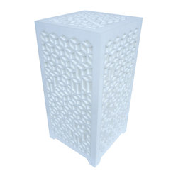 Surface Grooves - PATTAB Lamp 3d Volumes, White - With its attractive laser-cut patterns, the 3D Volumes table lamp will fill any room with a dazzling light show and enchanting geometric shadows. You can strike the right mood with the flick of a remote control that turns on the color-changing LED bulb.