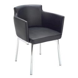 Sunpan - Sunpan Garcia Metal Black Swivel Chair - Materials: Faux leather,chromed steelFinish: Chrome  Upholstery materials: Faux leather
