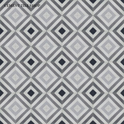 In Stock Cement Tile - Oxford Charcoal cement tile in from Cement Tile Shop