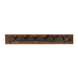 Rustica Hardware - Raw & Rustic – Multi Hook Coat Hanger - Hang up your hat, coat and a hard day on this Raw & Rustic – Multi Hook Coat Hanger. This coat hanger has 6 prongs and is made from raw steel, mounted to a rustic piece of wood. No two are quite alike with each its own set of unique characteristics.