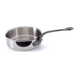 Mauviel - Mauviel M' Cook 5-Ply Cast Iron Handle 3.4 qt. Saute Pan - The Mauviel MCOOK collection has the highest resistance to warping of any ply cookware. MCOOK is made with a patented process giving you a magnetic Stainless Steel exterior, 3 layers of aluminum and magnetic Stainless Steel interior. This symmetry (exterior of the pot and interior of the pot having the same material make up) creates a very ridged cookware that will not warp when being used on INDUCTION. Induction works with magnets and magnetic fields. A pull and push is generated between the stove top and the magnetic SS surface of the cookware. This movement creates heat. If the cookware surface is not balanced or equal inside and outside the cookware can be pulled out of form or warps. Mcook will not warp on induction. Multi-layered 18/10 stainless steel provides a rapid, unform heat conduction and distribution. Noncorrosive Non Stick interior Thickness: 1.6mm of aluminum plus 1mm of stainless steel for a total of 2.6mm thickness Polished outside finish Fixed by sturdy stainless steel rivets Cast Iron handle Suitable for electric, gas, halogen and induction cooktops. Made in France.