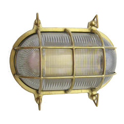 Shiplights - Medium Oval Cage Light (Solid Brass, Interior & Exterior Use), Unlacquered Brass - Our Medium Oval Cage Light is made of solid brass and can be used indoors or outdoors in a wide variety of applications.
