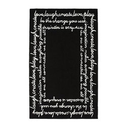 Script Rug - Add fun detail to your little wordsmith's room with this black and white rug. With fun wording scrolled around a black background, this is a fun way to add an elegant detailing without overwhelming with color.