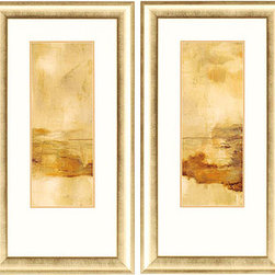 Paragon Decor - Soul of a Tree Set of 4 Artwork - Shades of gold dance in the light.  Features bottom weighted neutral matting with gold frame.