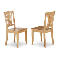 East West Furniture - Dining Chair in Oak Finish - Set of 2 - Set of 2. Vertical slatted back. Sleek hardwood tabletop with sturdy carved pedestal. Gently arced chair back graceful carving. Made from micro fiber and wood. Made in Vietnam. Assembly required. Seat height: 18 in.. Overall: 17 in. W x 16.5 in. D x 38.5 in. H (37 lbs.)