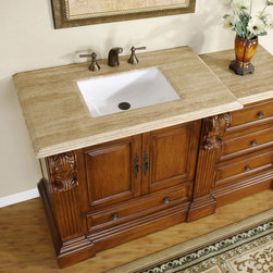 "Silkroad Exclusive - 58 in. Bravia Single Sink Bathroom Vanity in - Undermount White Rectangular Ceramic Sink included. Travertine Stone Top included. Cabinet Finish: Cherry. Hardware Finish: Antique Brass. Materials: Wood, CARB Ph2 Certified Plywood & MDF Panels, Stone, Ceramic. Distressed Finish. Pre-drilled for 3-hole, 8-inch widespread Faucet(s). Faucet(s) not included. Dimensions: 58 in. W x 23.5 in. D x 36.5 in. H (323 lbs.)Want your vanity cabinet doors and drawers close softly and smoothly without unpleasant noise? This bathroom vanity would be your dream come true. Featuring its anti-slam door hinges and Soft-closing Full-extension Ball-bearing drawer glides, you would fall in love this bathroom vanity. Single Sink Vanity with a free standing drawer bank, Roman Vein Cut Travertine Stone top and beautiful Cherry finish will surely give any bathroom the appeal that it deserves. This elegantly designed vanity with its unique rectangular white ceramic sink bowl and modest carvings will surely be the focal point in any bathroom design.You can also maximize your counter top and storage space up to 78"" by ordering an extra drawer bank and put it anywhere that fit your design. Disclaimer: Measurements are rounded off. Each of our fine bathroom vanities is a one-of-a-kind masterpiece, detailed with a multi-step hand finishing process. With individual technique and interpretation, no two pieces are exactly the same (color may vary). Individual personality of each stone top is further expressed by anomalies such as veining and coloration, as the nature of stone. Actual color may vary due to individual computer monitor display settings."