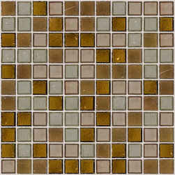 """Susan Jablon Mosaics - Caramel Sage And Brown Glass Tile Mix - This glass tile mix of 1"""" handmade tiles in tones of brown, grey, caramel and green will perfectly complement your solid color counter top surface in many various shades.This glass tile blend features olives and taupes and browns in transparent glass.It is very easy to install as it comes by the square foot on mesh and it is very easy to clean! About a decade ago, Susan Jablon re-ignited her life-long passion for mosaics and has built a customer-focused, artist-driven, business offering you the very best in glass and decorative tiles and mosaics. We are a glass tile store committed to excellence both personally and professionally. With lines of 100% SCS Qualified recycled tile, 12 colors and 6 shapes of mirror, semi precious turquoise stones from Arizona mines, to color changing dichroic glass. Stainless steel tiles in 8mm and 4mm and 12 designs within each, and anything you can dream of. Please note that the images shown are actual photographs of the tiles however, colors may vary due to the calibration of each individual monitor. Ordering samples of the tiles to verify color is strongly recommended."""
