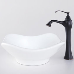 Kraus - Kraus C-KCV-135-15000BN White Tulip Ceramic Sink and Ventus Faucet - Add a touch of elegance to your bathroom with a ceramic sink combo from Kraus