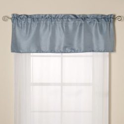 Kensington Home Fashions - Oxford Valance in Blue - The Oxford valance has a subtle stripe, classic style and fits in easily with most decors. 100% polyester, self-corded and lined.