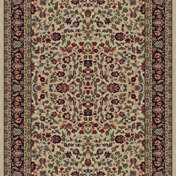 """Concord Global - Concord Global Jewel Kashan Ivory 6'7"""" x 9'6"""" Rug (4063) - Jewel collection is machine-made in Turkey using 100% heat-set polypropelene. These traditional to contemporary rugs will make a colorful addition to any area."""