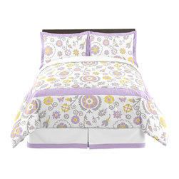 Sweet Jojo Designs - Lavender and White Suzanna 3-Piece Queen Bedding Set by Sweet Jojo Designs - The Lavender and White Suzanna 3-Piece Queen Bedding Set by Sweet Jojo Designs, along with the  bedding accessories.