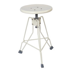 "Dulton - Dulton Clipper II Stool, Ivory - Dulton's stool ""Clipper II"" is a small yet steady tripod legs steel stool. Seating level is adjustable from 17.5 to 20.5 inches."