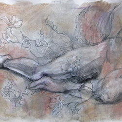 Botanical And Figure (Original) by Kathleen Ney - A mixed media drawing and painting of the figure with plants. This piece has several layers of drawings which give it a richness and depth.