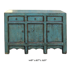 Chinese Rusitc Blue Lacquer Sideboard Buffet Table - This is Chinese Ming style nightstand end table which is made of solid elm wood. It comes with unusual light blue color and it can be used as side cabinet.