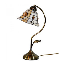 ParrotUncle - Antique Stained Glass Bell Shade Tiffany Arc Table Lamp - There is no easier way to add functional light to your home while adding an artistic touch than with these Antique Stained Glass Bell Shade Tiffany Arc Table Lamps. Simply plug one in and place it on an end table, desk, or wherever you like. Even when not being used the bright colors in the glass will add a special touch that no ordinary lamp can achieve.