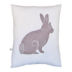 "Artgoodies - Bunny Block Print Squillow Accent Pillow - A cute accent pillow for your couch, chair, or bed! An original hand carved linocut block print has been hand printed on 100% cotton, sewn together with vintage fabric, and filled with poly-fil. Features: -Fabric: Front 100% white cotton; back coordinating vintage fabric. -Size: Overall dimensions 8.5"" by 10.5"". -Color: Grayish Purple. -Coordinated with vintage fabric back and filled with poly-fil. -Original hand carved linocut block print design by artist Lisa Price. -Hand printed and sewn in Grand Rapids, Michigan. -Please note that due to the hand-printed nature of this product, the fabric backing will vary slightly by pillow.."