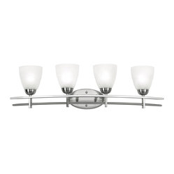 "Possini Euro Design - Deco Nickel Collection 33"" Wide Bathroom Light Fixture - A clean architectural look that's in perfect style. Twin bars in a brushed nickel finish support four white glass cones for a cool contemporary look. Four light fixture is perfect for larger bathroom or vanity areas. Takes four 60 watt bulbs (not included). 33"" wide. 9"" high. Extends 8"" from the wall. Backplate is 8"" wide 4 1/2"" high.  Brushed nickel finish.  White glass.  Takes four 60 watt bulbs (not included).  33"" wide.  9"" high.  Extends 8"" from the wall.   Backplate is 8"" wide 4 1/2"" high."