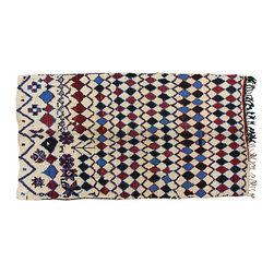 """THE MOROCCAN ROOM - Moroccan Rug, 8'4"""" x 4'8"""" - One-of-a-kind Moroccan rug handwoven by the Berbers of the Atlas Mountains. The natural colors and abstract design resemble a painting in wool."""