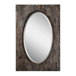 Distressed Wood Beveled Glass Mirror - Distressed Wood Beveled Glass Mirror