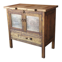 Mexican Artisans - Rustic Barnwood Sideboard - Indeed Decor's Rustic Wood & Tin Sideboard is hand-crafted from aged wood with a natural patina. This unique sideboard features etched tin panel doors and rustic iron hardware. Our rustic wood sideboard or buffet will bring warmth and character to your dining room or kitchen. Designed and handcrafted to last, these exceptional pieces offer a relaxed-living feel balanced by the understated elegance of vintage architectural appeal.  Each piece of well built furniture is destined to become your most beloved family furniture treasures. Each piece is a unique creation, so expect slight variations in size, color and hardware elements.