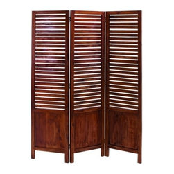 "BZBZ38315 - Traditional Wooden Three Panel Screen with Sophisticated Look - Traditional wooden three panel screen with sophisticated look. This wooden three panel screen adds a touch of comfortable homely finish to your room. The materials been into making this lasting piece of furniture will last for a longer period in a durable state. It comes with a dimension of 67"" H x 51"" W x 1"" D."