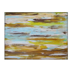 Acrylic Abstract Painting Large Original - 36x48 - Brown,Yellow,Turquoise by Gin - This is an original painting by acrylic artist Gina Perillo. If interested in a similar painting of a different size, please contact me.