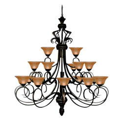 "The Gallery - Foyer / Entryway Wrought Iron Chandelier Lighting Chandeliers H72"" X W55"" - Wrought Iron Chandelier. A Great European Tradition. Nothing is quite as elegant as the fine chandeliers that gave sparkle to brilliant evenings at palaces and manor houses across Europe. This beautiful chandelier from the Versailles Collection has 21 lights. The frame is Wrought Iron, adding the finishing touch to a wonderful fixture. The timeless elegance of this chandelier is sure to lend a special atmosphere anywhere its placed! Please note this item requires assembly. This item comes with 18 inches of chain. 21 LIGHTS W.55"" x H.72""."