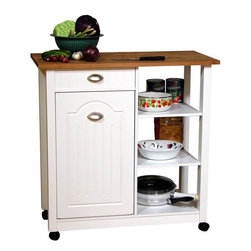 "Venture Horizon - Venture Horizon Double Butcher Block Mobile Island Bin in White - Venture Horizon - Kitchen Carts - 412511WH - Like our other Butcher Block Bins our Double Butcher Bin is even more versatile and efficient. A great addition to any kitchen. Constructed from durable easy to clean stain resistant laminated wood composites our cabinet incorporates a solid hardwood cutting board top that measures 36"" wide x 18"" deep. Carve with confidence the largest turkey slab of beef or rack of lamb. Slice dice or julienne fresh fruit and vegetables...like a pro. Unique design incorporates a storage compartment for food scraps or other refuse. Holds a standard 10 gallon size waste basket (not included). We increased this cabinets versatility by adding 3 pantry shelves and a paper towel holder in the rear. In addition there are now 3 roomy open shelves (15�_"" deep x 13"" wide) for pots pans or whatever else you want to keep at the ready."