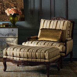 'Lenox' Bergere Chair & Ottoman - This is going on the vision board for my dream bedroom. I love the rich colors, and the fabric is classic. It's fit for a queen.
